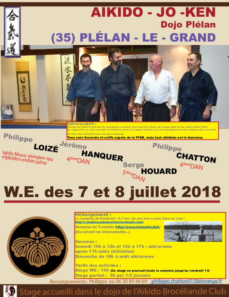 Affiche Stage d'été Aikido Broceliande Club